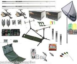 Full Carp Fishing Tackle Set Up Kit Rods Reels Rigs Alarms Bait Tools Mat PC 1