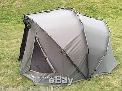 Full Carp Fishing set up 2 man Bivvy 2 Rods Reels Bag Alarm Tackle Bed Chair Net