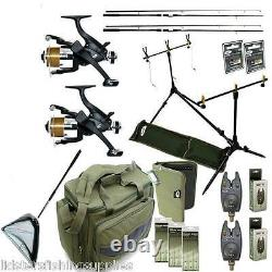Full Carp Fishing set up NGT 2 Rods Reels Bag Bite Alarms Net Rigs Wallet