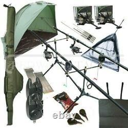 Full Carp Fishing set up Shelter Bivvy 2 Rods Reels Bag Alarm Holdall Net NGT