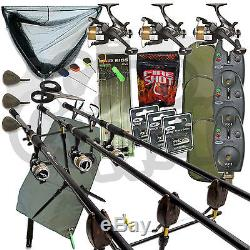Full Carp fishing Set With 3 x Rods And Reels Alarms Landing Net Mat Pod Tackle