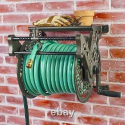 Liberty Garden Wall Mounted Heavy Gauge Aluminum Hanging Hose Reel with Guide