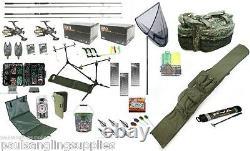 Mega Carp Fishing Set Up Kit Rods Reels Bait Tackle Tools Mat SH4