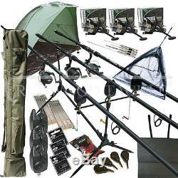 Mega Carp Fishing Set Up Kit Rods Reels Rigs Alarms Bait Tackle Tools Mat