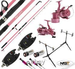 NGT 2 x PINK CARP FISHING RODS + REELS + POD + ALARMS WOMENS CARP FISHING SET UP