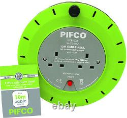 PIFCO 10M 2 Way 10 AMP Electric Extension Cable Reel Mains Plug & Socket Lead UK