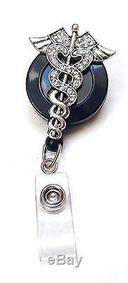 Rhinestone retractable ID badge holder reel Caduceus Nurse Doctor Symbol