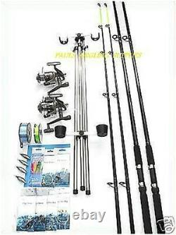 Sea Fishing Beachcaster Kit 13 FT Rods Reels Tripod Tackle Weights Line
