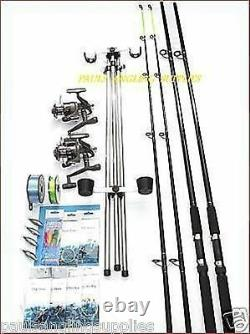 Sea Fishing Beachcaster Kit 14 FT Blue Rods Reels Tripod Weights Tackle Rigs