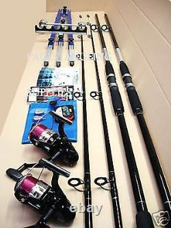 Sea Fishing Beachcaster Kit 2 Rod 2 Reel Tripod Tackle