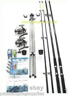 Sea Fishing Kit 12ft 2 Rod 2 Shakespeare Reels Tripod Tackle Beach / Surf