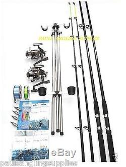 Sea Fishing Kit Set Shakespeare 12ft 2 Rod 2 Reel Tripod Tackle Beachcasters