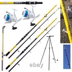 Sea Fishing Set 2 X 12ft Beachcaster Rods + 2 X Shizuka Sea Reels + Tripod