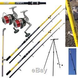 Sea Fishing Set 2 X 12ft Beachcaster Rods + 2 X Silk 70 Sea Reels + 1 X Tripod