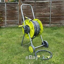 Set Of 50m Hose & Reel Troley Garden Watering Pipe Cart Standing Winder Tube