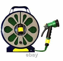 Tangle Free Garden Hosepipe Reel Spray Gun Attachment Flat Hose Pipe 50ft