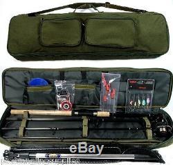 Travel Fishing Rod, Reel, Floats, Shot, Spinners, Net, Hooks Deluxe Bag Kit