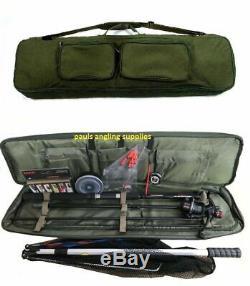 Travel Fishing Rod, Reel Floats Shot, Spinners, Net, Hooks Deluxe Bag Kit Case