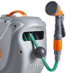 VonHaus 30M Garden Hose Auto Rewind Wall-Mounted Reel 8-Function Spray Gun