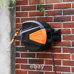 Wall Mounted 20m 30m Auto Rewind Retractable Garden Hose Reel Water Spray Pipe