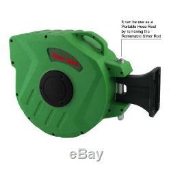 Wall Mounted Retractable Auto Rewind Garden Water Hose Reel Watering Spray Tool