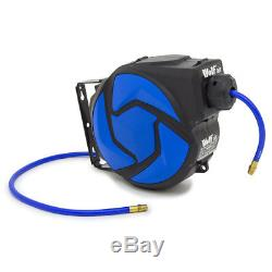 Wolf Air 10m Retractable Air Hose Reel ¼ BSP 8mm Bore Mounting Kit Auto Stop