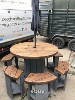 Wooden cable reel table And Stools